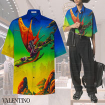 VALENTINO Silk Street Style Other Animal Patterns Short Sleeves