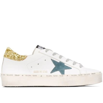 Star Leather Glitter Logo Low-Top Sneakers