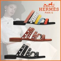 HERMES Round Toe Casual Style Leather Sandals Sandal