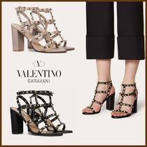 VALENTINO Open Toe Casual Style Studded Plain Leather Block Heels