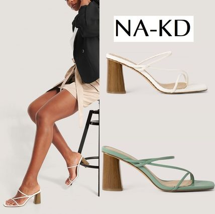 Casual Style Plain Heeled Sandals