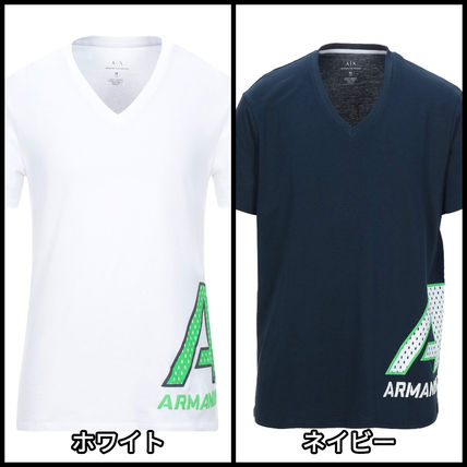 A/X Armani Exchange Unisex V-Neck Cotton Short Sleeves Logo V-Neck T-Shirts