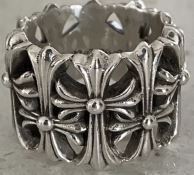 CHROME HEARTS CEMETERY CROSS Unisex Street Style Plain Silver Logo Rings