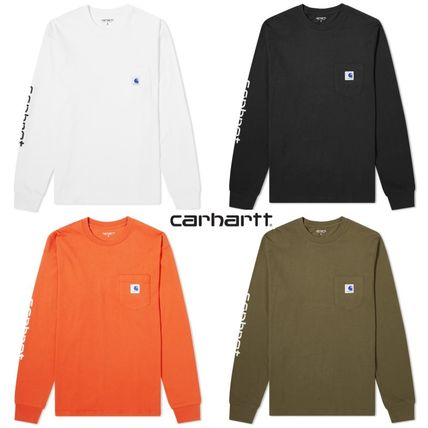 Carhartt Long Sleeve Crew Neck Street Style Collaboration Long Sleeves Plain