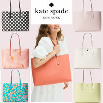 kate spade new york Dots Zigzag Casual Style A4 Plain Leather Elegant Style