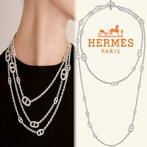 HERMES Casual Style Street Style Chain Party Style Silver Oversized