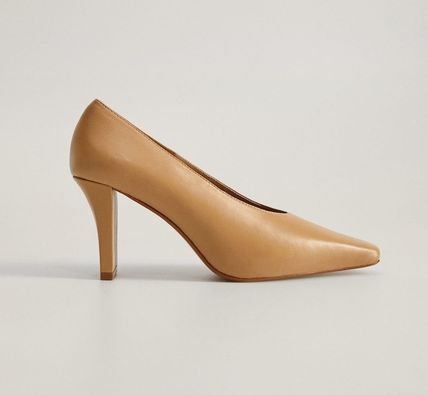 MANGO Casual Style Leather High Heel Pumps & Mules