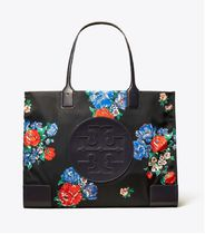 Tory Burch ELLA TOTE Flower Patterns Nylon A4 Office Style Totes