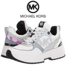 Michael Kors Monogram Lace-up Casual Style Glitter Logo Low-Top Sneakers