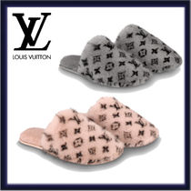 Louis Vuitton Monogram Casual Style Fur Slippers Shearling Logo Shoes