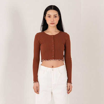 Short Casual Style Street Style Bi-color Long Sleeves Plain