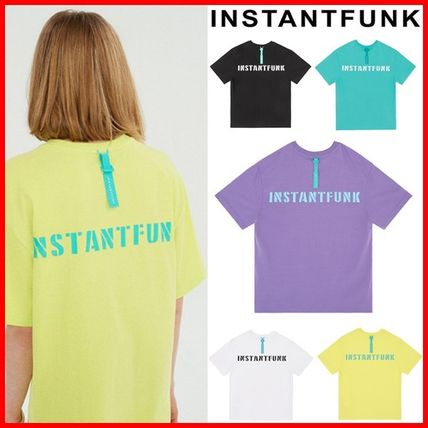 Unisex Street Style Plain Cotton Short Sleeves Logo T-Shirts
