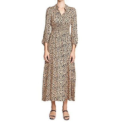 Leopard Patterns Casual Style Flared Cropped Cotton