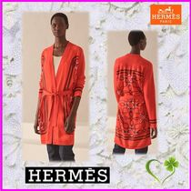 HERMES Casual Style Cashmere Blended Fabrics Long Sleeves Cotton