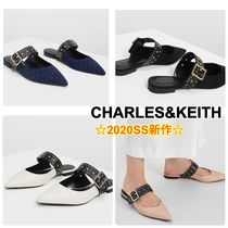 Charles&Keith Dots Casual Style Faux Fur Studded Mules Sandals Sandal