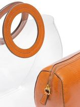 STAUD Blended Fabrics Bag in Bag Plain Leather Crystal Clear Bags