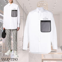 VALENTINO Star Long Sleeves Plain Cotton Oversized Logo Shirts