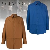 VALENTINO Long Sleeves Plain Cotton Oversized Shirts