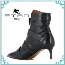 ETRO Casual Style Plain Leather Formal Style  Mid Heel Boots