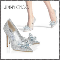 Jimmy Choo Blended Fabrics Plain Leather Pin Heels Party Style