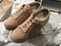 MaxMara Plain Toe Rubber Sole Lace-up Casual Style Suede Plain