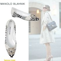 Manolo Blahnik Hangisi Gingham Stripes Dots Pumps & Mules