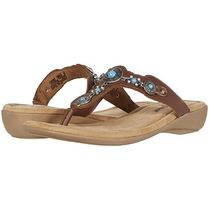 Minnetonka Studded Plain Leather Footbed Sandals With Jewels