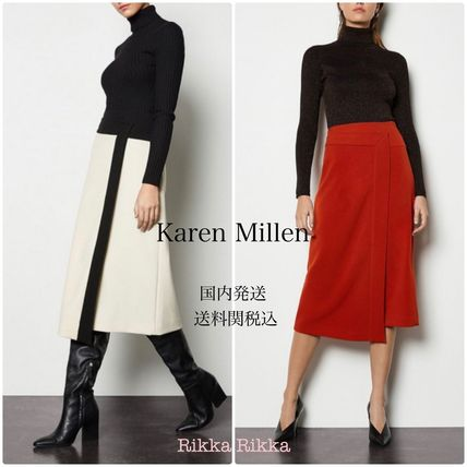 Bi-color Plain Medium Office Style Elegant Style Midi Skirts
