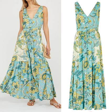 Flower Patterns Tropical Patterns Casual Style Maxi V-Neck