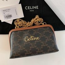CELINE Triomphe Canvas Casual Style Leather Elegant Style Crossbody Shoulder Bags