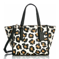 Coach CROSBY Leopard Patterns Casual Style 2WAY Leather Handbags