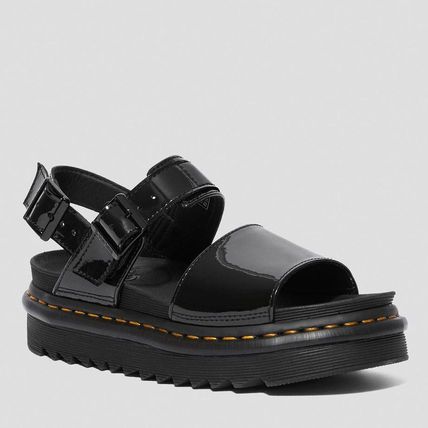 Open Toe Platform Casual Style Unisex Plain Leather