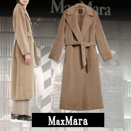 MaxMara Casual Style Wool Nylon Blended Fabrics Plain Long