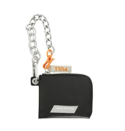 Chain Leather Small Wallet Logo Coin Cases