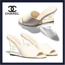 CHANEL Open Toe Casual Style Plain Leather Party Style