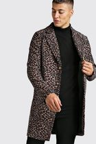 boohoo Leopard Patterns Street Style Long Chester Coats