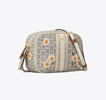 Tory Burch GEMINI LINK Flower Patterns Casual Style Canvas Leather Party Style