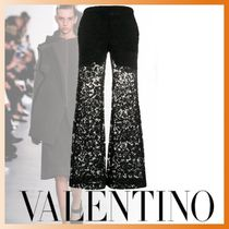 VALENTINO Flower Patterns Casual Style Plain Long Party Style Lace