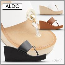 ALDO Open Toe Platform Casual Style Faux Fur Studded Plain