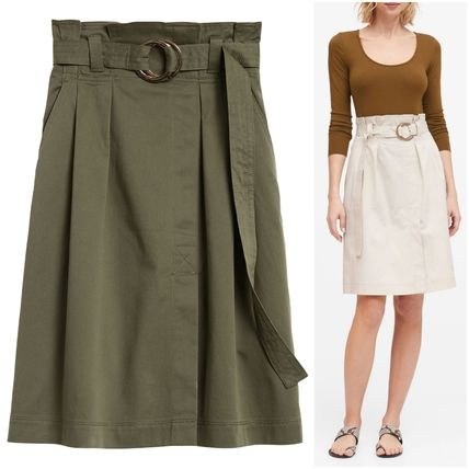 Short Casual Style Pleated Skirts Plain Cotton Elegant Style