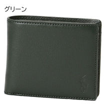 Ralph Lauren Unisex Calfskin Street Style Plain Leather Folding Wallet