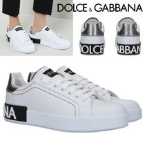 Dolce & Gabbana Round Toe Rubber Sole Lace-up Casual Style Plain Leather