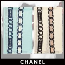 CHANEL Cashmere Silk Chain Logo Icy Color Knit & Fur Scarves