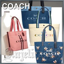 Coach Flower Patterns Casual Style Unisex Canvas Denim