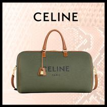 CELINE Calfskin Canvas Blended Fabrics 2WAY Boston Bags