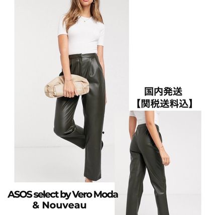 Casual Style Faux Fur Plain Leather Long Party Style