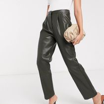 VERO MODA Casual Style Faux Fur Plain Leather Long Party Style