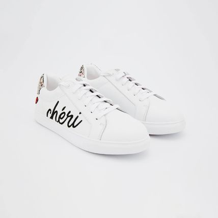 Lace-up Casual Style Street Style Leather Logo