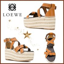 LOEWE GATE Stripes Open Toe Casual Style Street Style Plain Leather