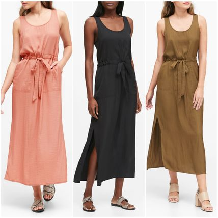 Casual Style Maxi Sleeveless Plain Long Dresses
